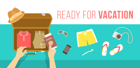 suitcase packing: Summer vacation vector flat illustration. Packing beach stuff for summer time travel. Man puts in suitcase summer clothes, swim shorts, flip-flops, hat, glasses, camera and passport. Top view banner Illustration
