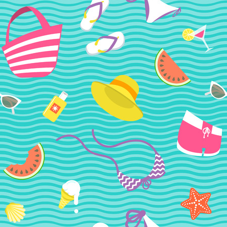 watermelon woman: Summer vacation vector flat style seamless background pattern. Women summer clothes, beach accessories, ice cream, starfish, shell, watermelon icons scattered on wavy background. Wrapping paper design