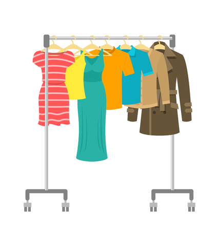 clothes rack: Hanger rack with male and female clothes. Flat style vector illustration. Casual garment hanging on portable rolling metal commercial hanger stand. Everyday outfit sale concept. Fashion collection.