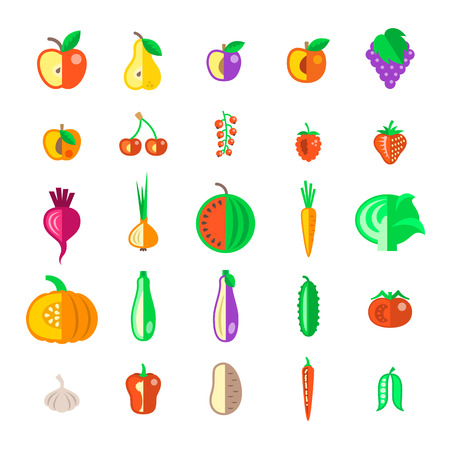 cherry tomato: Farm fruits and vegetables flat vector icons set. Organic healthy food symbols. Harvest infographic elements. Agriculture design elements. Apple, tomato, pepper, cherry, berries, carrot, cucumber etc.