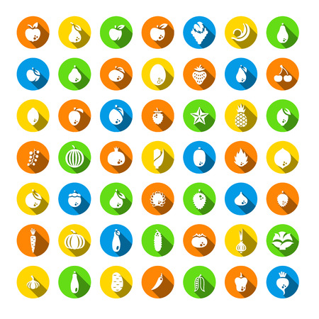 organic farm: Fresh fruits and vegetables flat silhouettes vector icons set. Farm harvest graphic elements. Exotic tropical citrus symbols. Organic food pictograms. Healthy eating. Vegetarian nutrition products