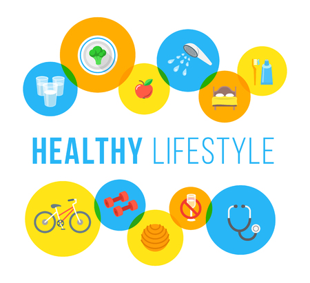 medical exam: Healthy living flat vector banner. Healthcare and wellness lifestyle background. Regular exercises, daily physical activity, good food, sleep, hygiene, medical exam icons. Fitness infographic elements
