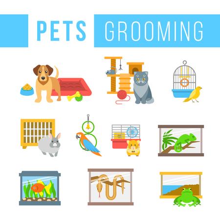pajaro caricatura: Animales de aseo iconos de colores planos mascotas