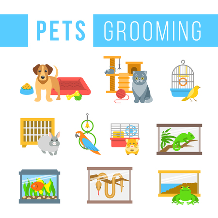 grooming: Animals pets grooming flat colorful icons