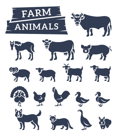 Domestic farm animals flat silhouettes icons set