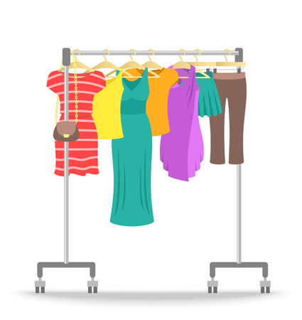 Hanger rack with women clothes collection. Flat style vector illustration. Female casual garment hanging on rolling metal commercial stand. Summer sale fashion concept. Dresses, shirts, skirts, pants