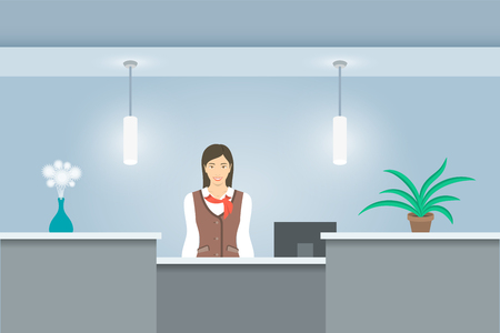 hotel hall: Young woman receptionist in uniform stands at reception desk Illustration