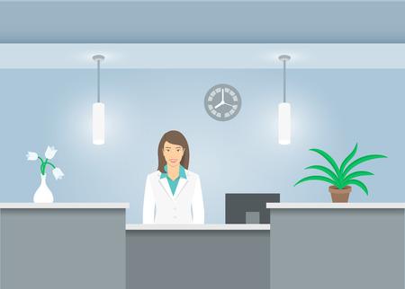 recepcionista mujer en capa médica se sitúa en el mostrador de recepción en el hospital. Ilustración de vector