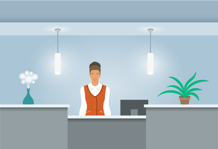receptionist: African American girl receptionist stands at reception desk. Illustration