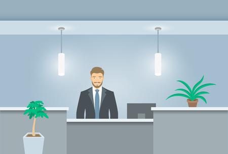 recepcion: recepcionista hombre joven se coloca en el escritorio de recepción