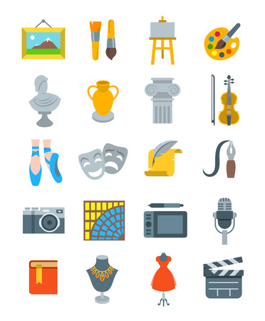 Art and crafts flat vector icons set. Colorful symbols of painting, architecture, sculpture, writing, music, ballet, theater, cinema, calligraphy, photography, pottery, jewelry, tailoring