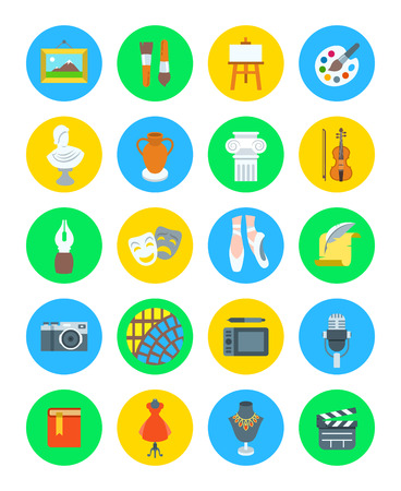 pottery: Art and crafts flat vector round icons set. Colorful symbols of painting, architecture, sculpture, writing, music, ballet, theater, cinema, calligraphy, photography, pottery, jewelry and tailoring