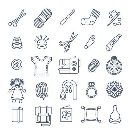 gomitoli di lana: Vector piane icone di donne a mano attività di hobby. Strumenti per il cucito, maglia, ricamo, perline. giocattoli fatti in casa, vestiti, gioielli, accessori. Gli strumenti per l'artigianato e cose fatte da mani Vettoriali