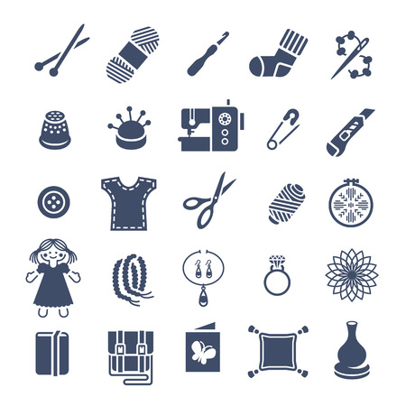 stuff toys: Vector flat icons of women handmade hobby activities. Tools for sewing, knitting, embroidery, beadwork. Homemade toys, clothes, jewelry, accessories. Instruments for handicraft and stuff made by hands