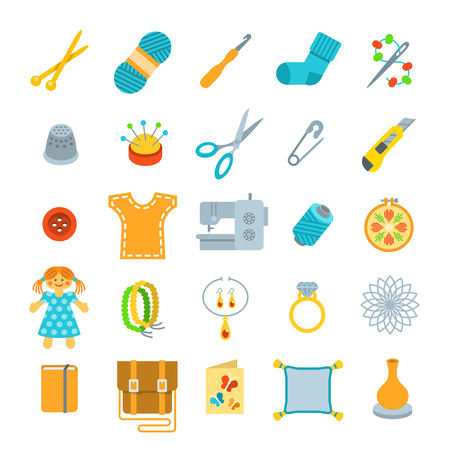 Vector flat icons of women handmade hobby activities. Tools for sewing, knitting, embroidery, beadwork. Homemade toys, clothes, jewelry, accessories. Instruments for handicraft and stuff made by hands