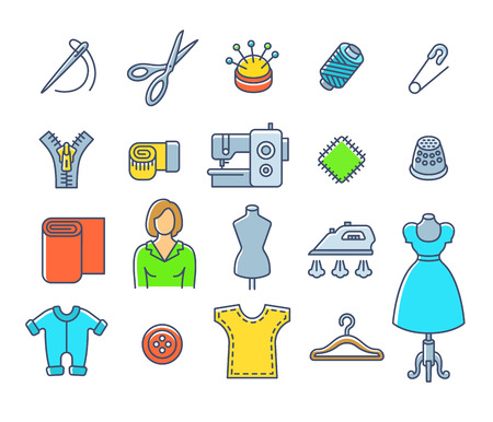 dressmaker: Sewing icons flat thin line vector set. Outline tools and accessories for tailoring and needlework. Linear handmade clothes atelier symbols. Dressmaker instruments kit. Seamstress with work equipment