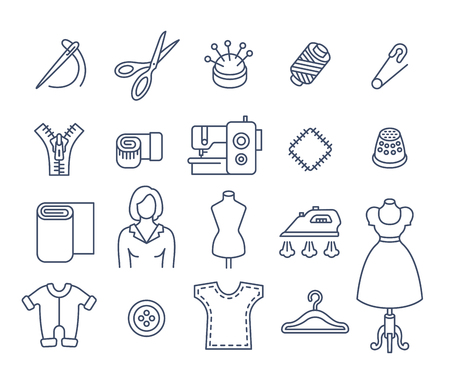 tailoring: Sewing icons flat thin line vector set. Outline tools and accessories for tailoring and needlework. Linear handmade clothes atelier symbols. Dressmaker instruments kit. Seamstress with work equipment