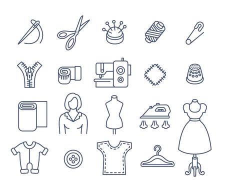 Nähen Symbole flach dünne Linie Vektor-Set. Skizzieren Sie Werkzeuge und Zubehör für das Nähen und Handarbeiten. Linear handgemachte Kleidung atelier Symbole. Näherei Instrumenten-Kit. Näherin mit Arbeitsmitteln