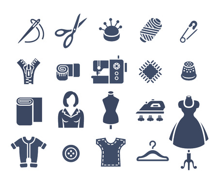 seamstress: Sewing icons flat vector silhouettes set. Tools and accessories for tailoring and needlework. Handmade clothes atelier symbols. Dressmaker instruments kit. Seamstress with her work equipment
