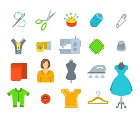 tailoring: Sewing icons flat vector set. Tools and accessories for tailoring and needlework. Handmade clothes atelier symbols. Dressmaker instruments kit. Seamstress with her work equipment