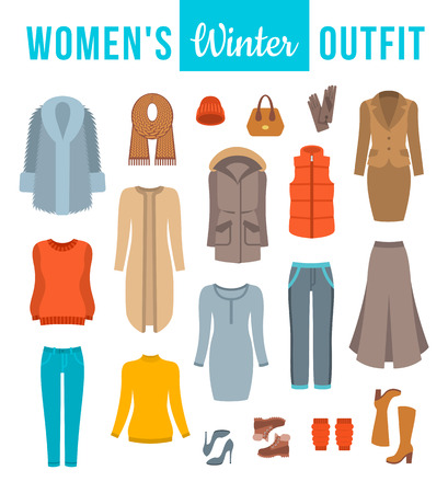 dress coat: Women winter clothes flat vector icons set. Must have fashion elements of modern urban female outfit, shoes and every day accessories for cold season. Warm clothing wardrobe. Casual style collection