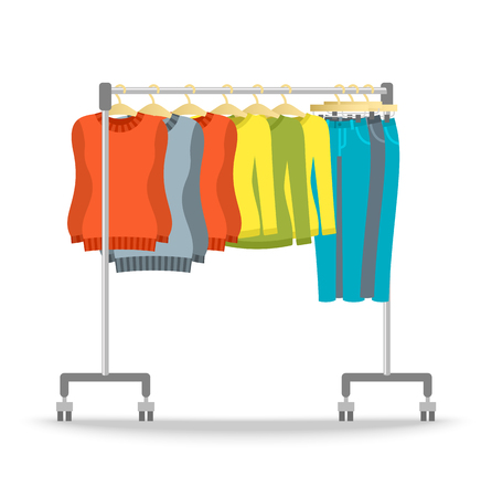 clothes hanging: Hanger rack with warm women clothes winter collection. Flat style vector illustration. Female casual outfit elements hanging on rolling display stand. Sweaters, jeans, pullovers. Retail shop furniture