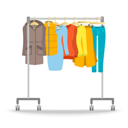 shop furniture: Hanger rack with warm women clothes winter collection. Flat style vector illustration. Female casual outfit elements hanging on rolling display stand. Sweaters, jeans, pullovers. Retail shop furniture