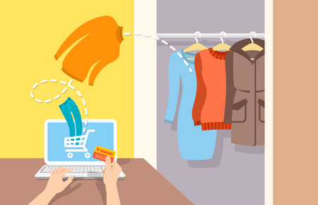 computer banner: Girl buys casual warm winter clothes on website using computer. Online shopping flat vector banner. Web store marketing concept. E-commerce background. Electronic commerce illustration Illustration