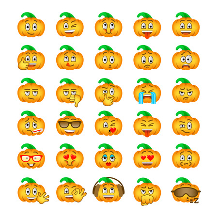 Emoticonos de Halloween calabaza emoji. iconos vectoriales plana cara sonriente símbolo de la fiesta. Diferentes emociones y expresiones faciales. de dibujos animados estado de ánimo y reacciones de chat de texto y mensajero web Carácter lindo
