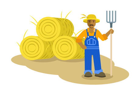 an agronomist: African American farmer man standing with pitchfork near group of hay bales. Vector flat illustration. Farming cartoon character. Organic agriculture concept. Smallholder harvesting in work uniform