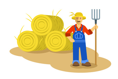 agronomist: Farmer man standing with pitchfork near group of hay bales. Vector flat illustration. Farming cartoon character. Organic agriculture concept. Smallholder harvesting in work uniform Illustration