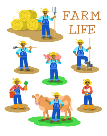 Black farmers men and women working on farm. Farming characters standing in different poses. Flat illustration. Agrarian man figures with pitchfork, shovel, hoe, cow, pig. Woman with harvest and hen Illustration