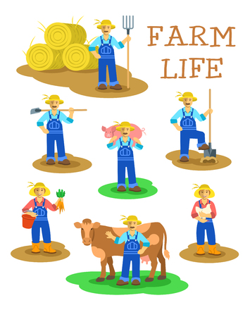 Farmers men and women working on farm. Farming characters standing in different poses. Vector flat illustration. Agrarian man figures with pitchfork, shovel, hoe, cow, pig. Woman with carrot and hen