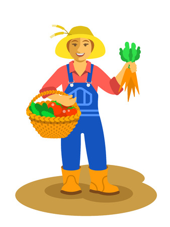 agrarian: Young friendly smiling farmer woman stands with vegetables harvest in wicker basket and holds carrots in her hand. Vector flat illustration. Female cartoon character. Fresh local organic food concept