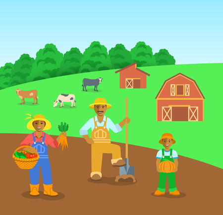 black family: Farming black family standing in farm field. Flat vector background. Mother with vegetables, father with a shovel, son with pumpkin. Countryside landscape with barn and cows. Parents with kid