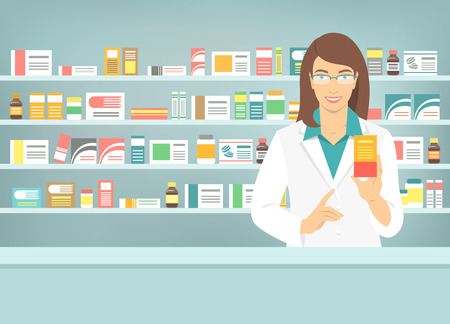 Pharmacist at counter in pharmacy. Woman druggist stands opposite shelves with medicines and points to box with drug. Flat vector illustration. Health care medical background. Drugstore cartoon banner
