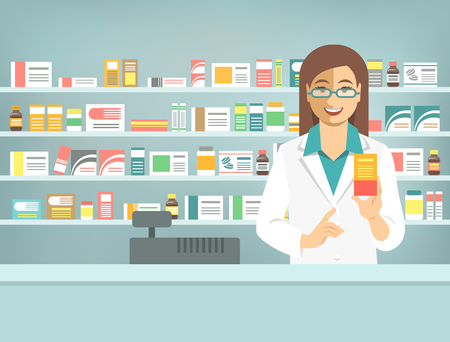 druggist: Pharmacist at counter in pharmacy. Woman druggist stands opposite shelves with medicines and points to box with drug. Flat vector illustration. Health care medical background. Drugstore cartoon banner