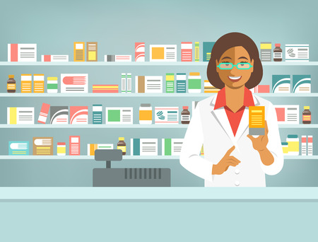 druggist: Pharmacist at counter in pharmacy. Black woman druggist stands opposite shelves with medicines and points to drug. Flat vector illustration. Health care medical background. Drugstore cartoon banner