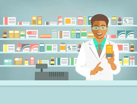 druggist: Pharmacist at counter in pharmacy. Black man druggist stands opposite shelves with medicines and points to drug. Flat vector illustration. Health care medical background. Drugstore cartoon banner