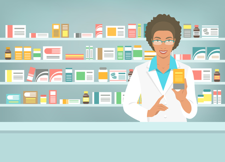 apothecary: Pharmacist at counter in pharmacy. Black woman druggist stands opposite shelves with medicines and points to drug. Flat vector illustration. Health care medical background. Drugstore cartoon banner