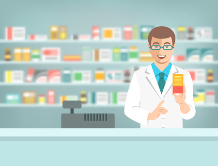 druggist: Pharmacist at counter in pharmacy. Man druggist stands opposite shelves with medicines and points to box with drug. Flat vector illustration. Health care medical background. Drugstore cartoon banner Illustration