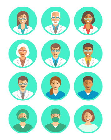 doctors and patient: Hospital staff flat simple vector avatars. Doctors and medical workers. Surgeon, physician, assistant, patient. Men and women, young and senior. Cute smiling portraits. Clinic personnel profile icons