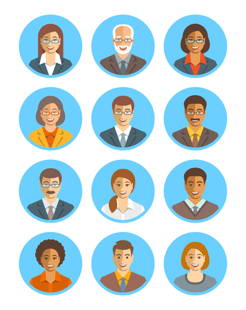 Avatars Les gens d'affaires vecteur défini. icônes de l'équipe d'affaires. Les hommes et les femmes en costumes, jeunes et seniors, caucasien et personnages afro-américains. Profil de l'entreprise du personnel photos. visages heureux plats simples Banque d'images - 64308682