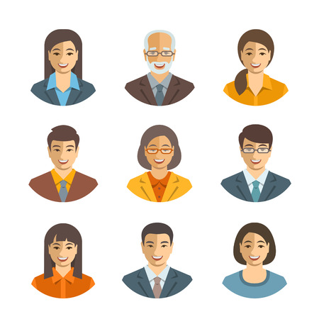user friendly: Asian business people flat vector avatars. Business team icons. Men and women in suits, Japanese, Chinese, Korean young and senior characters. Company staff profile pictures. Simple cute happy faces