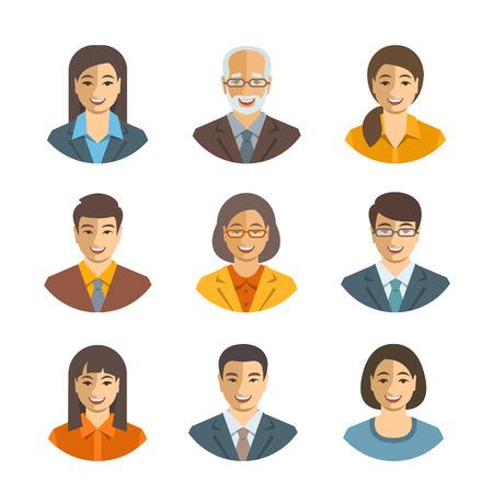 Asiatiques gens d'affaires avatars vecteur plat. icônes de l'équipe d'affaires. Les hommes et les femmes en costumes, japonais, chinois, caractères jeunes et seniors coréens. Profil de l'entreprise du personnel photos. visages heureux mignons simples