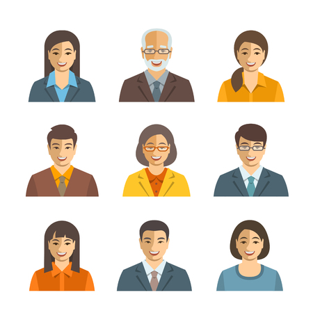 Asian business people flat vector avatars. Business team icons. Men and women in suits, Japanese, Chinese, Korean young and senior characters. Company staff profile pictures. Simple cute happy faces