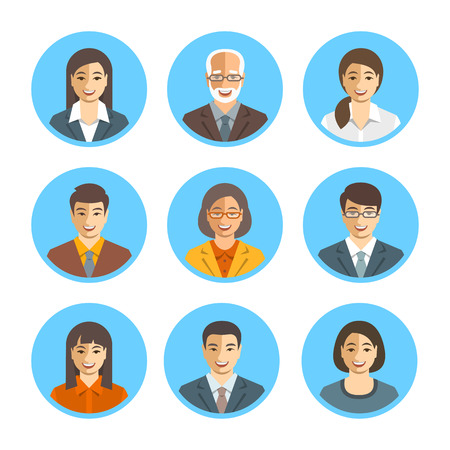 happy business team: Asian business people flat vector avatars. Business team icons. Men and women in suits, Japanese, Chinese, Korean young and senior characters. Company staff profile pictures. Simple cute happy faces