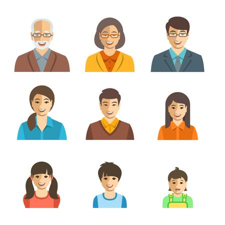 caras felices de la familia asiática. avatares planos vectoriales. La gente iconos simples generación. Madre, padre y de adultos, adolescentes y niños pequeños. , retratos chinos japoneses. Hombres mayores, jóvenes y mujeres, niños y niñas