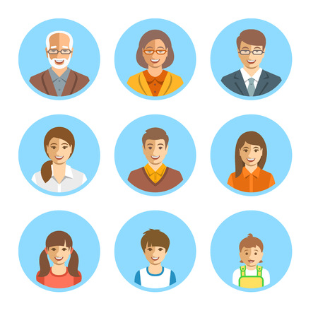 generations: Family members happy faces. Vector flat avatars. People generation simple icons. Mother, father and adult, teen and little kids. Caucasian portraits. Young, senior men and women, boys, girls and baby