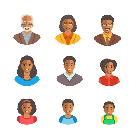 black boys: African American family happy faces. Vector flat avatars. Black people all ages generation simple icons. Mother, father, adult, teen, little kids portraits. Young, senior men, women, boys, girls, baby